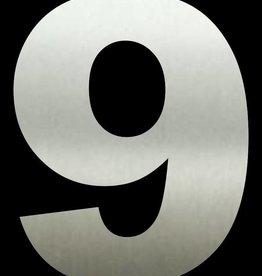 Huisnummer 9  RVS 30 cm groot