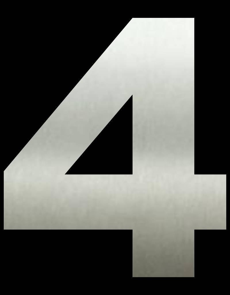 RVS Huisnummer 4 groot 40 cm