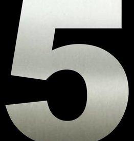 Huisnummer 5  RVS 40 cm groot