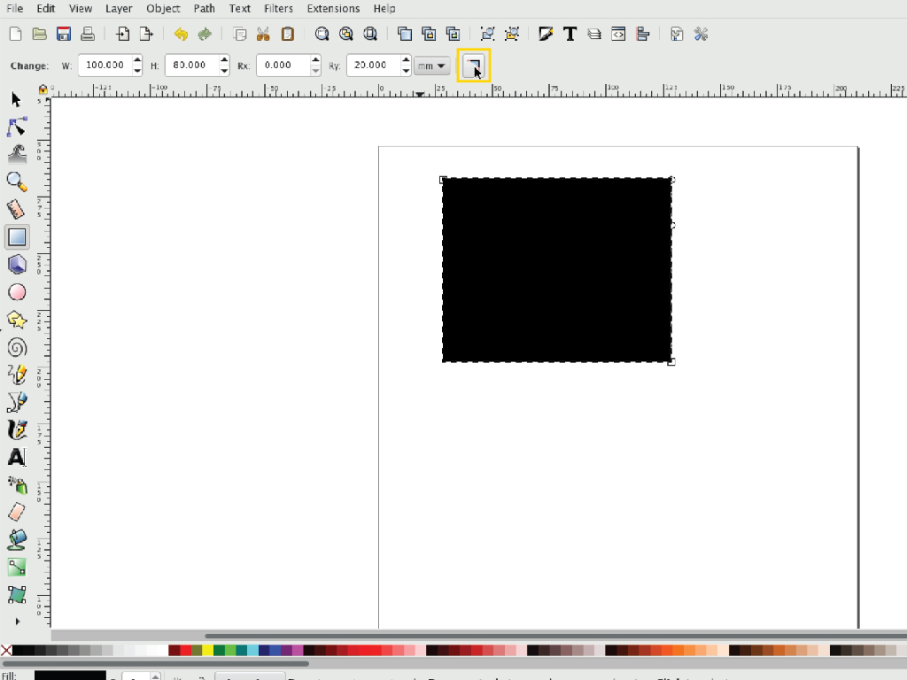 inkscape rectangle with rounded corners