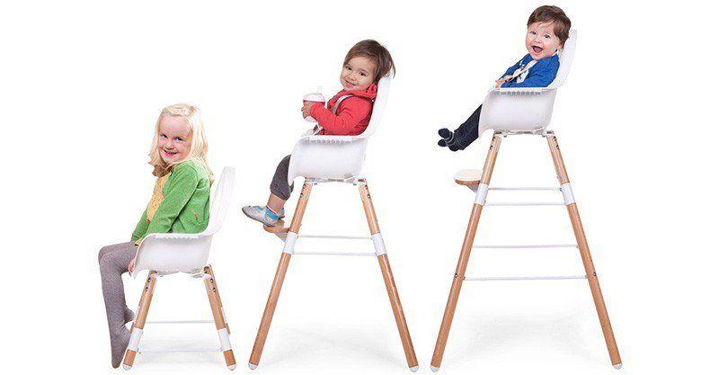 Childhome Childwood evolu ONE 80° stoel wit/naturel 2 in 1 + bumper
