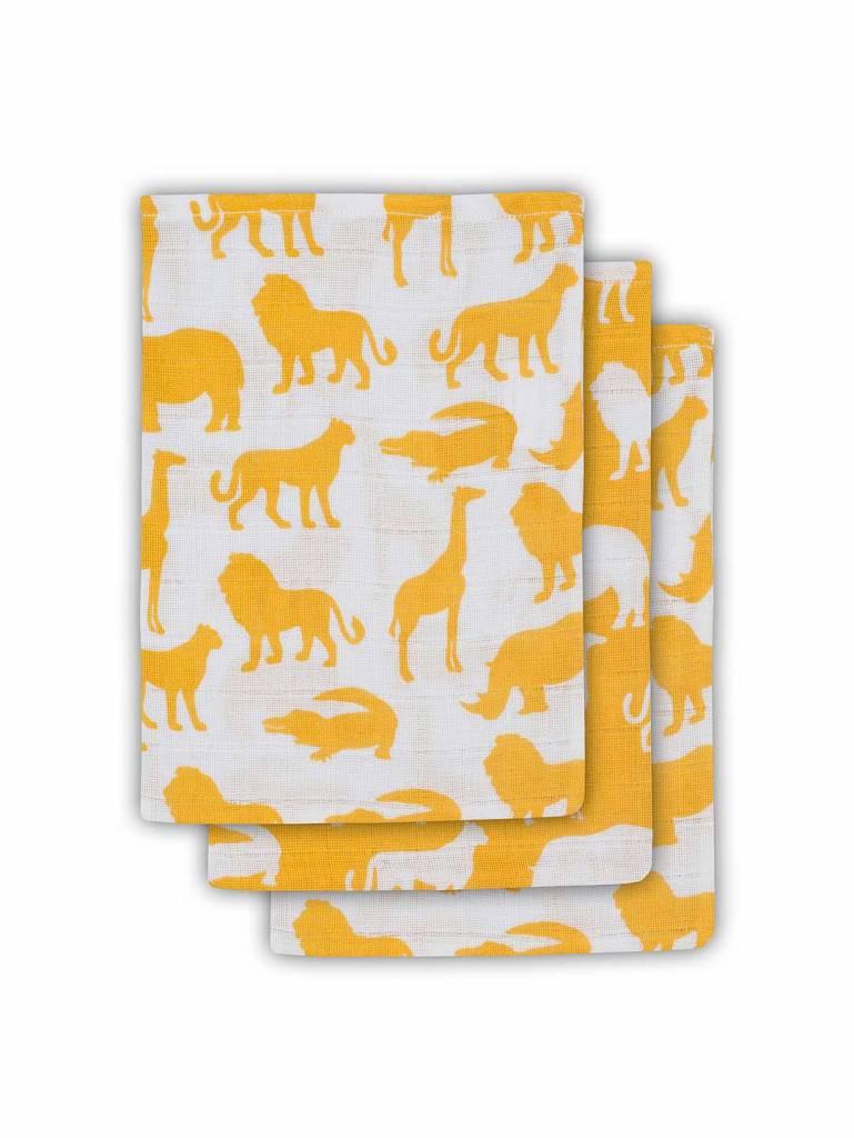 Jollein Jollein tetra washandje Safari ocher (3pack)