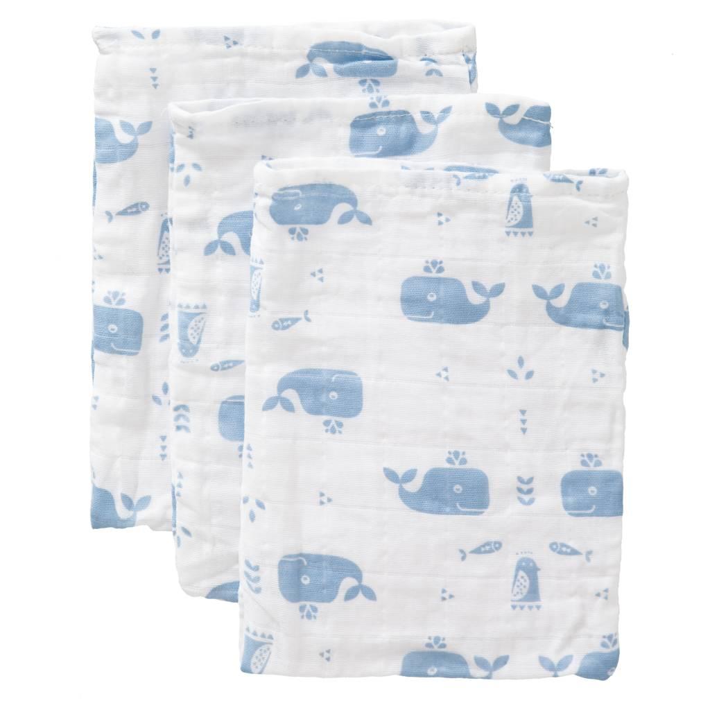 Fresk Fresk Washandjes set 3 stuks Whale blue fog