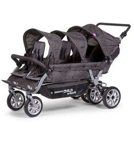 Childhome Childwheels six seater buggy + autobrake 6 kinderen antraciet