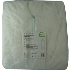 Plastic overall PP wit capuchon en ritssluiting p.s.