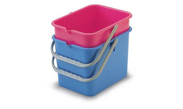 Emmer vierkant 9 liter blauw of rood p.s.