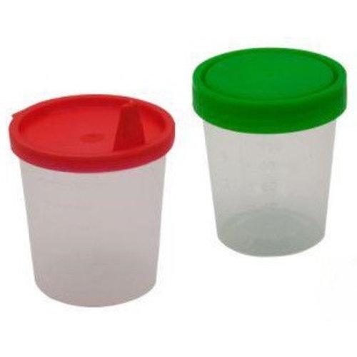 Medi-Inn 20x Urinebekers met snap-on deksel en tuit Rood 125 ml