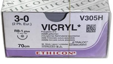 Vicryl V305H 3-0 70cm hechtdraad p. pakje a 36st