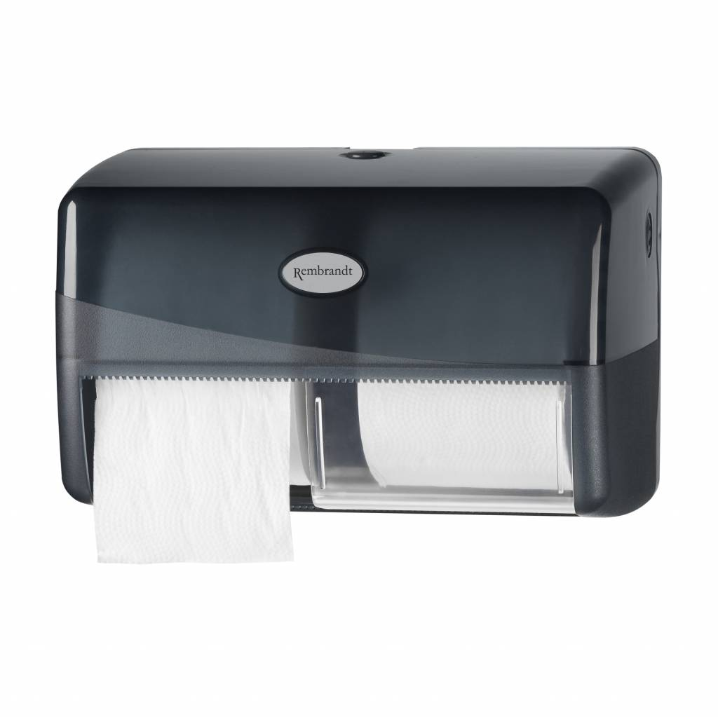 Zwarte duo coreless toiletrol dispenser