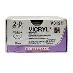Vicryl 2-0 V312H 70cm hechtdraad p. pakje a 36st