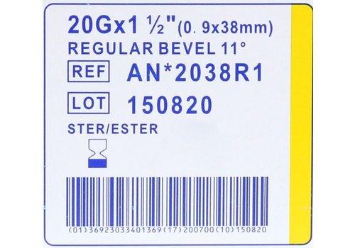 Agani 20G 38mm GEEL naalden Luer Lock doosje a 100st