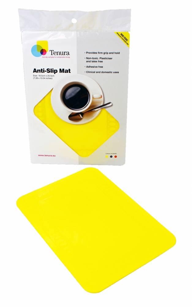 Anti-slip matten rechthoekig - L 25,5 x B 18,5 cm geel