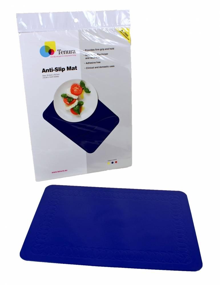Anti-slip matten rechthoekig - L 35,5 x B 25,5 cm blauw
