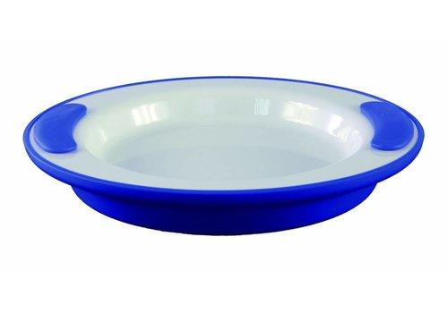 Warmhoudbord - wit/ blauw