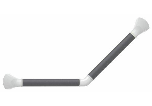 Wandbeugel zwart/grijs met afdekkappen in mat wit - 45° gehoekt 30 x 30 cm