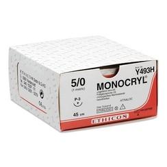 Y493H Monocryl 5-0  armed resorbeerbaar hechtdraad 45cm P-3 13mm Prime pak/36st