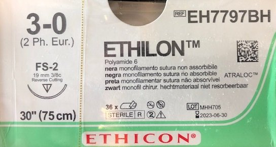EH7797BH Ethilon 3-0 hechtdraad zwart pak/36st