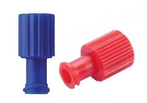Afsluitdopjes combi injectiespuit rood of blauw p. 100st