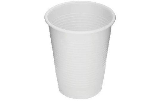 Plastic witte multipurpose bekers 200cc per 100 st.