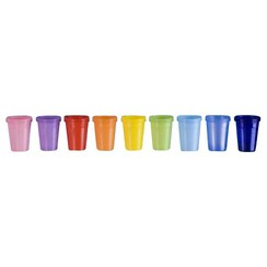 Plastic wegwerp bekers 180cc oa oranje, rood, wit doos a 1500st