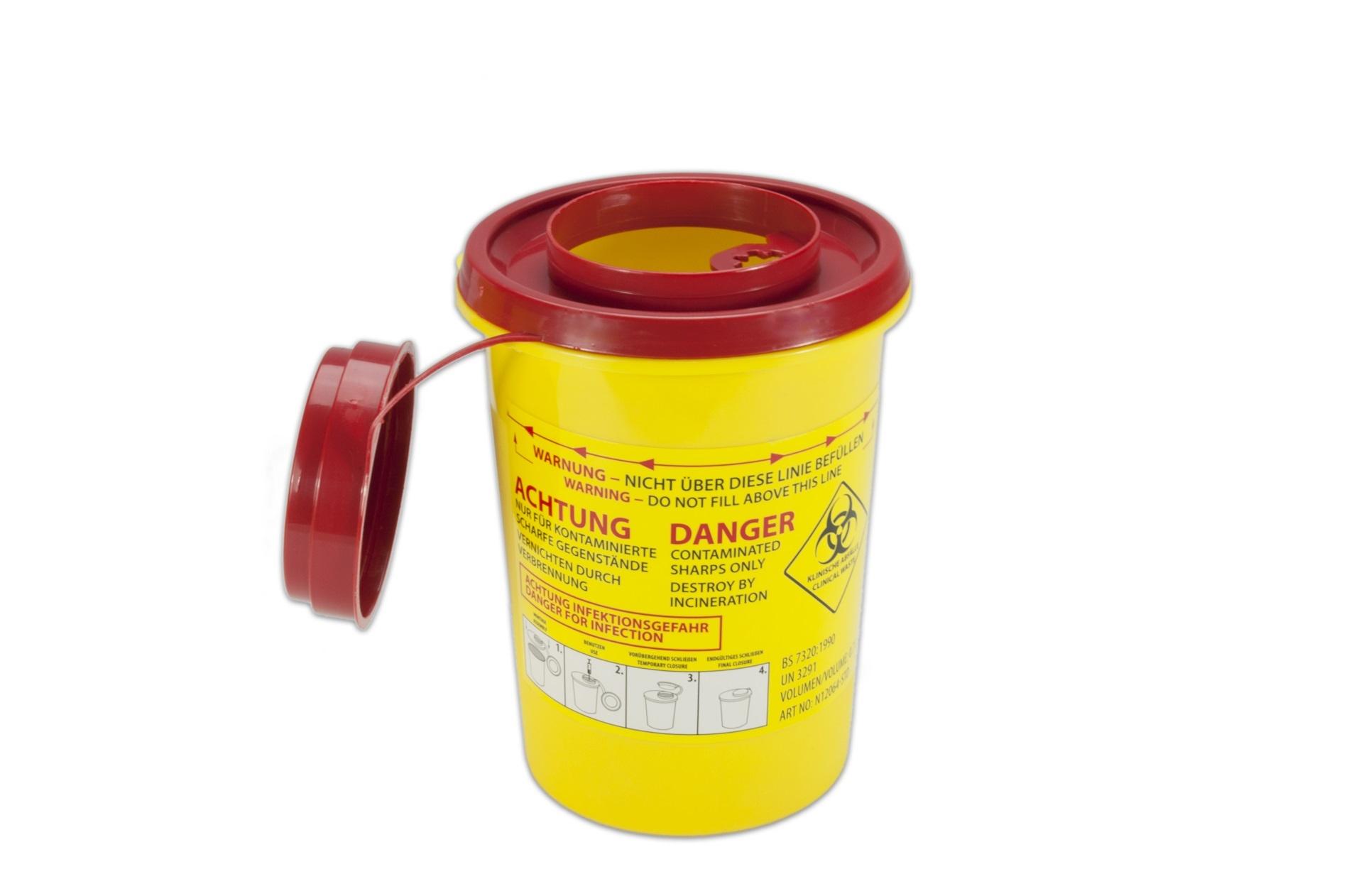 Naaldencontainer 0,7 liter UN 3291 per 1 stuk