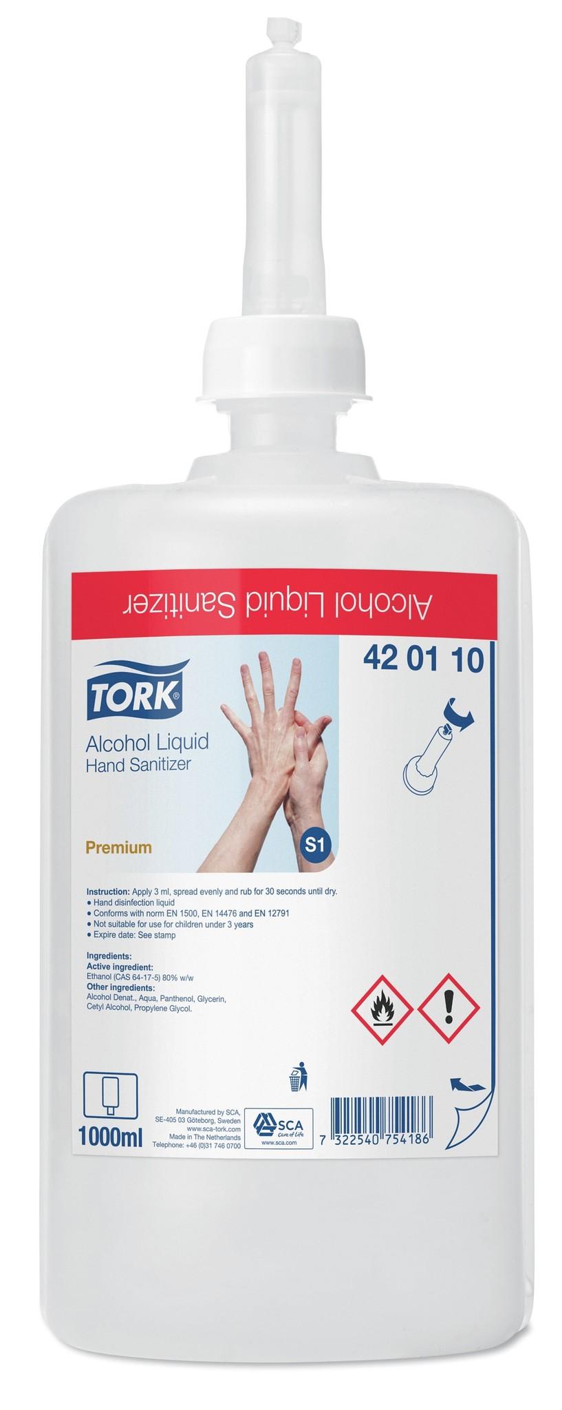 6x Tork Alcohol Liquid Hand Sanitizer