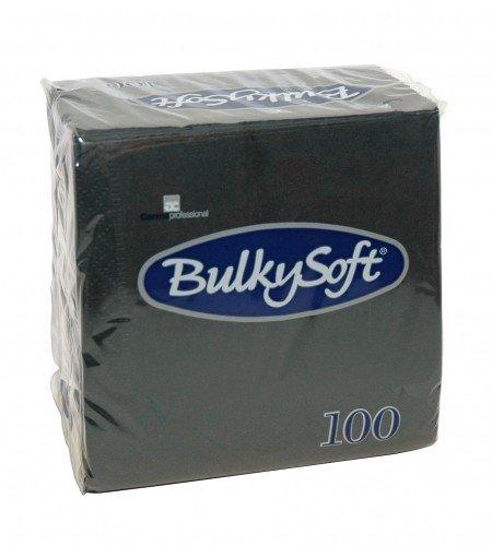 Bulkysoft 20x100 servetten zwart 40 x 40 cm 1/8 vouw - 20 x 100st