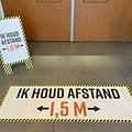 5x vloer stickers 1,5 meter Corona preventie