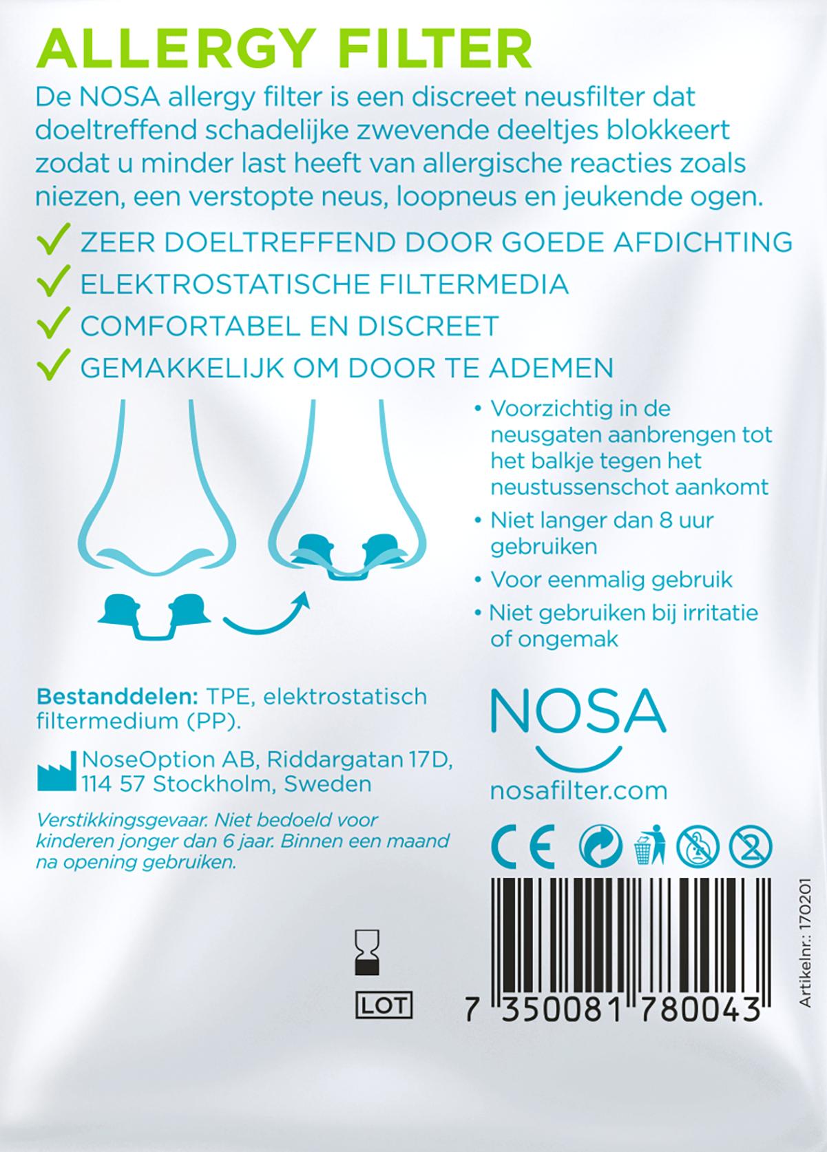 Nosa Nosa neusfilter dopjes bij stof, hooikoorts, dieren allergie