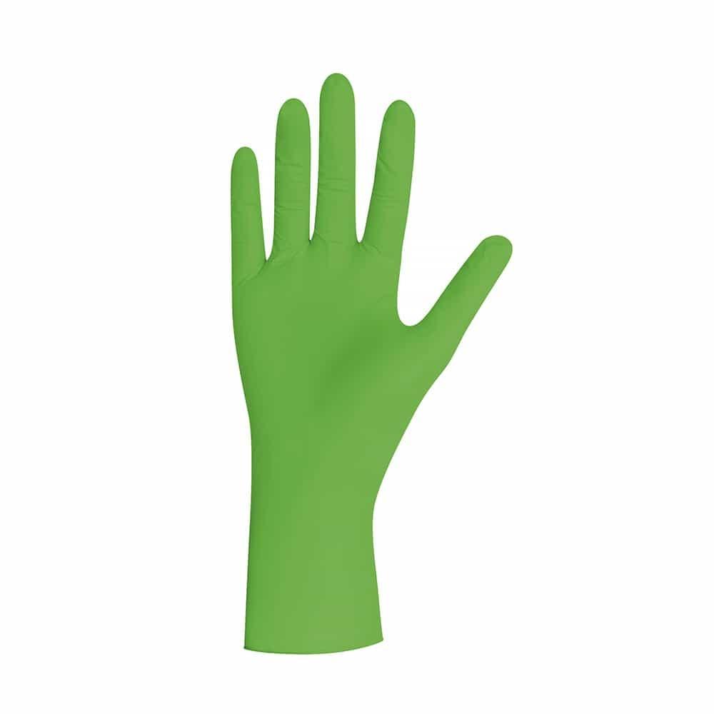 Groene nitril handschoenen poedervrij per 100 hs