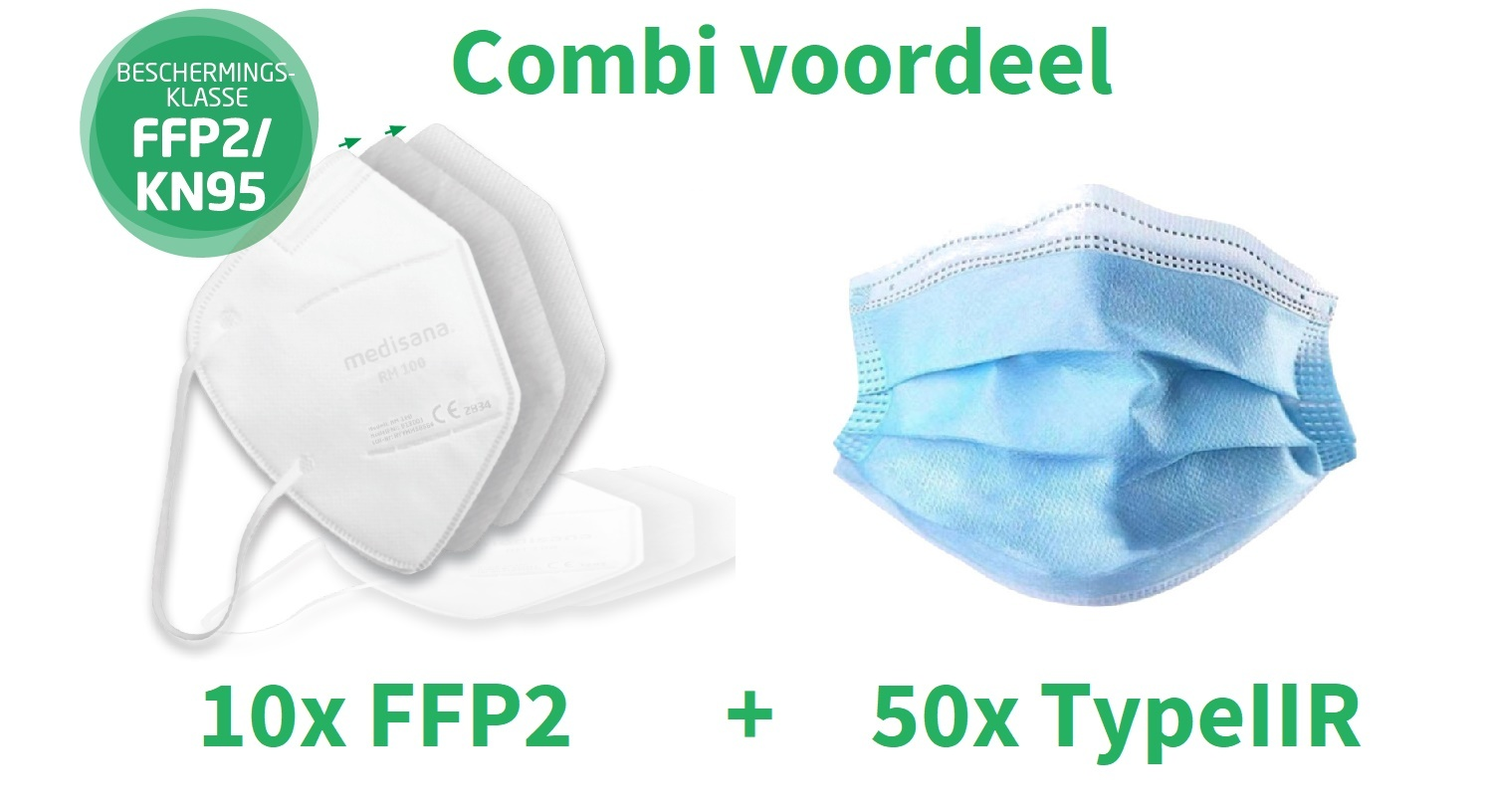 Combiset 10x FFP2 en 50x Type2R  mondmaskers
