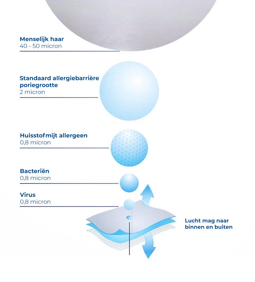 SleepAngel Bacterievrij hypoallergeen hoofdkussen - Blauw Microvezel 60x70x12