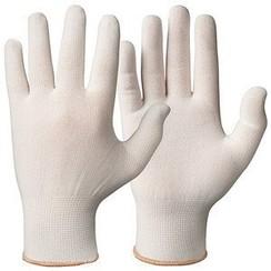 Polyester sterke onderhandschoenen WIT - per paar