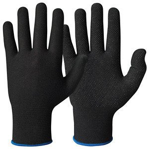 Katoenen handschoen ZWART micro-dots per paar