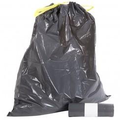 Afvalzakken LDPE groot 60 ltr met trekband per rol a 10 zakken