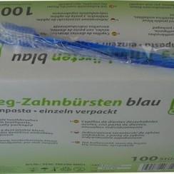 100 wegwerp tandenborstels met tandpasta per stuk verpakt