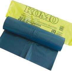 afvalzakken grijs 60 liter KOMO met sluitstrip - 1 pak a 20 zakken