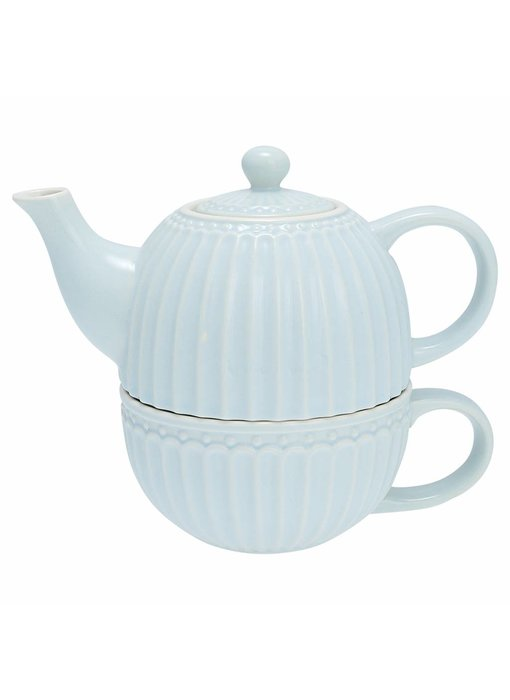 """GreenGate Tasse mit Kännchen """"Tea for one Alice"""" pale blue"""