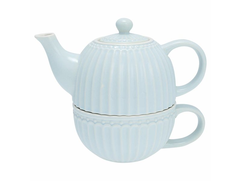 "GreenGate Tasse mit Kännchen ""Tea for one Alice"" pale blue"