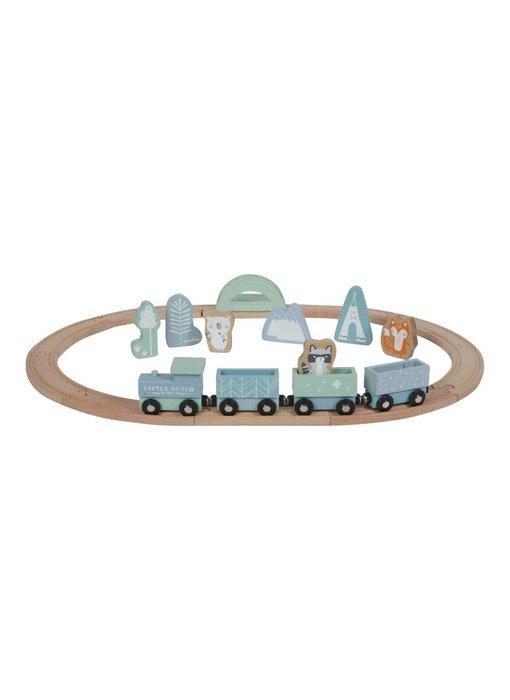 Little Dutch Holz-Eisenbahn mit Schienen, adventure blue