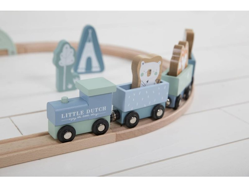 Little Dutch Holz-Eisenbahn mit Schienen, adventure blue