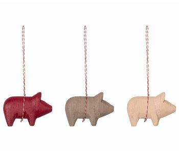 """Maileg Holz Anhänger """"Pig Ornament"""" Wooden (3 Stk.)"""