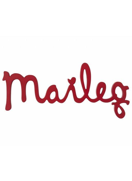 "Maileg Holz Logo ""Maileg"" rot"
