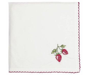 """GreenGate Stoffserviette """"Strawberry"""" mit Stickerei"""