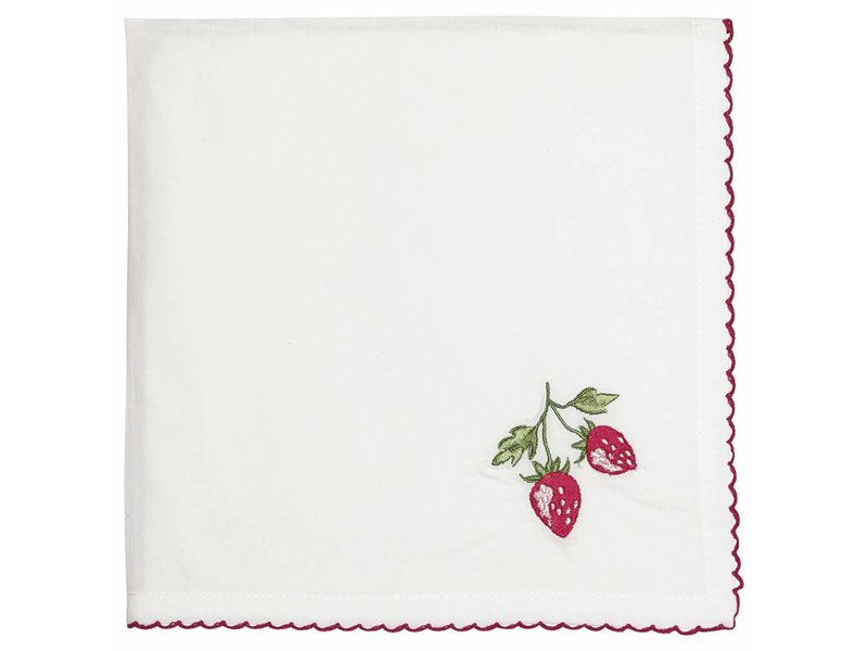 "GreenGate Stoffserviette ""Strawberry"" mit Stickerei"