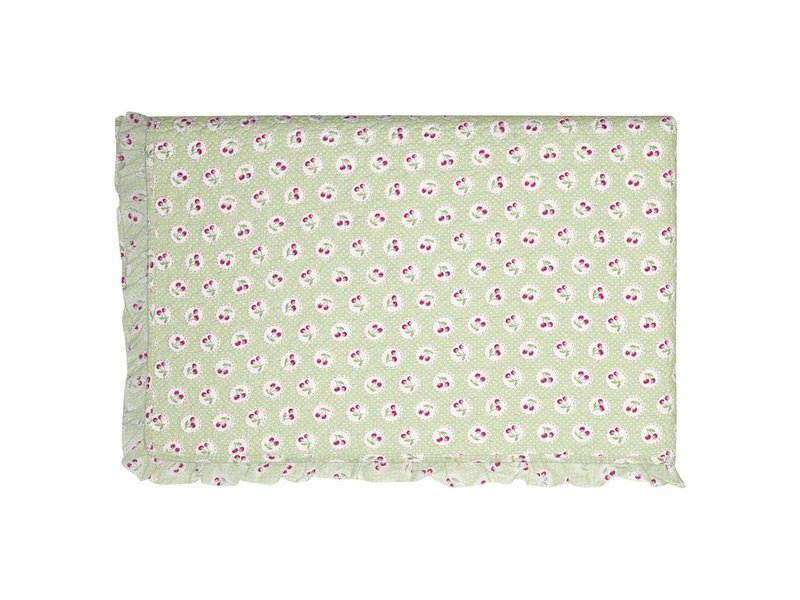 """GreenGate Quilt  """"Bed cover Cherry berry p. green"""" 140x220cm"""