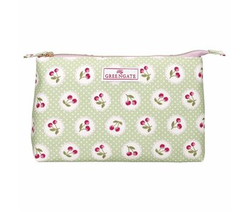 "GreenGate Kosmetikmäppchen ""Cosmetic bag Cherry berry p. green"" large"