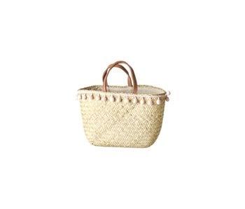 """rice dk """"Kindertasche"""" Raffia Basket with Pom Pom"""