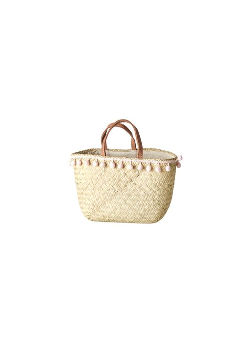 "rice dk ""Kindertasche"" Raffia Basket with Pom Pom"