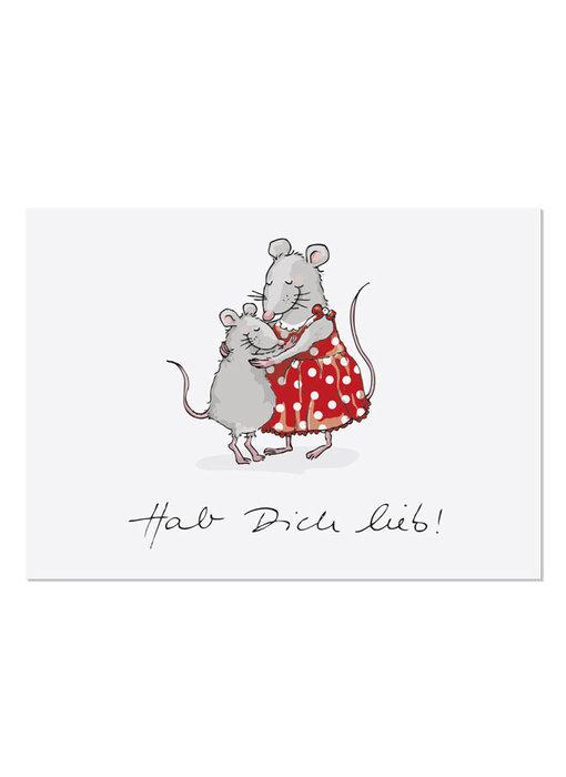 """krima & isa Postkarte """"Hab dich lieb"""" Maus"""